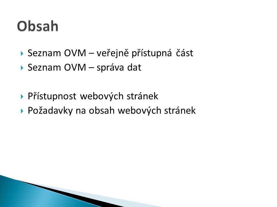 Obsah Seznam OVM – veřejně přístupná část Seznam OVM – správa dat