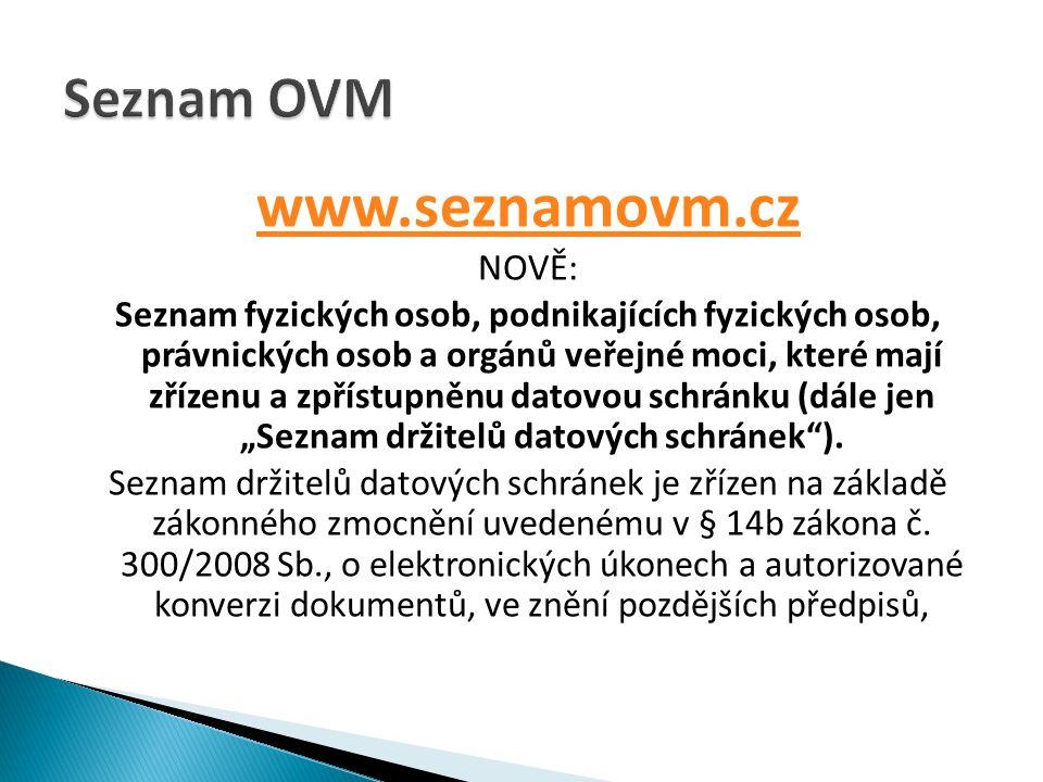 www.seznamovm.cz Seznam OVM NOVĚ: