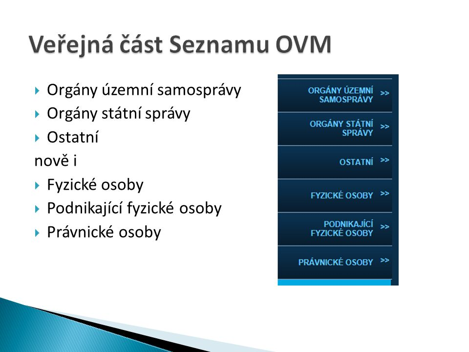 Veřejná část Seznamu OVM