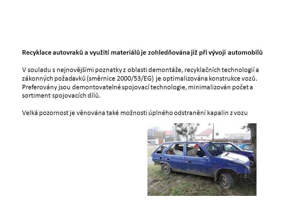 Recyklace autovraků a využití materiálů je zohledňována již při vývoji automobilů