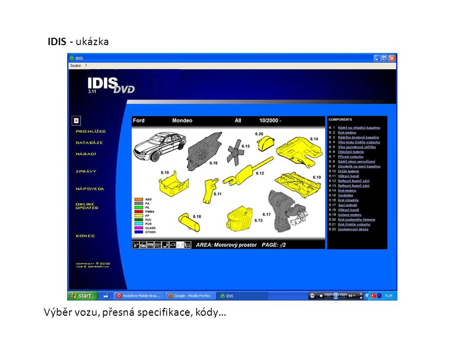 IDIS - ukázka Výběr vozu, přesná specifikace, kódy…