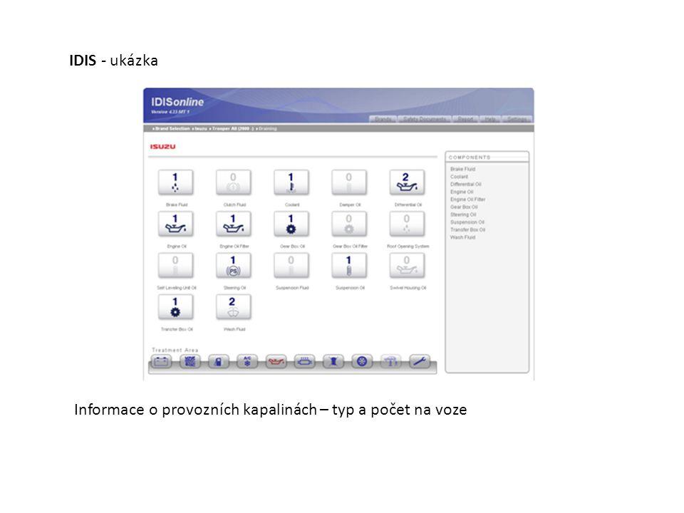 IDIS - ukázka Informace o provozních kapalinách – typ a počet na voze