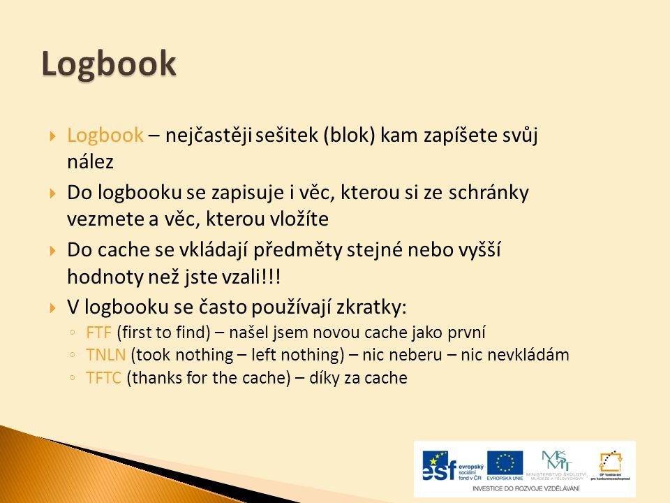 Logbook Logbook – nejčastěji sešitek (blok) kam zapíšete svůj nález