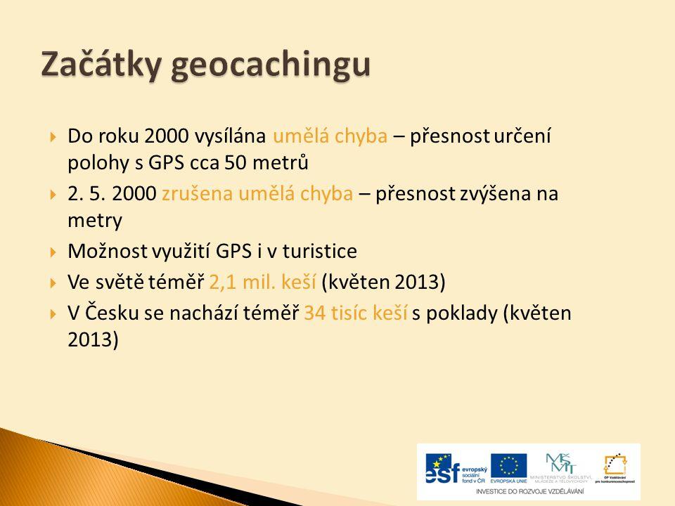 Začátky geocachingu Do roku 2000 vysílána umělá chyba – přesnost určení polohy s GPS cca 50 metrů.