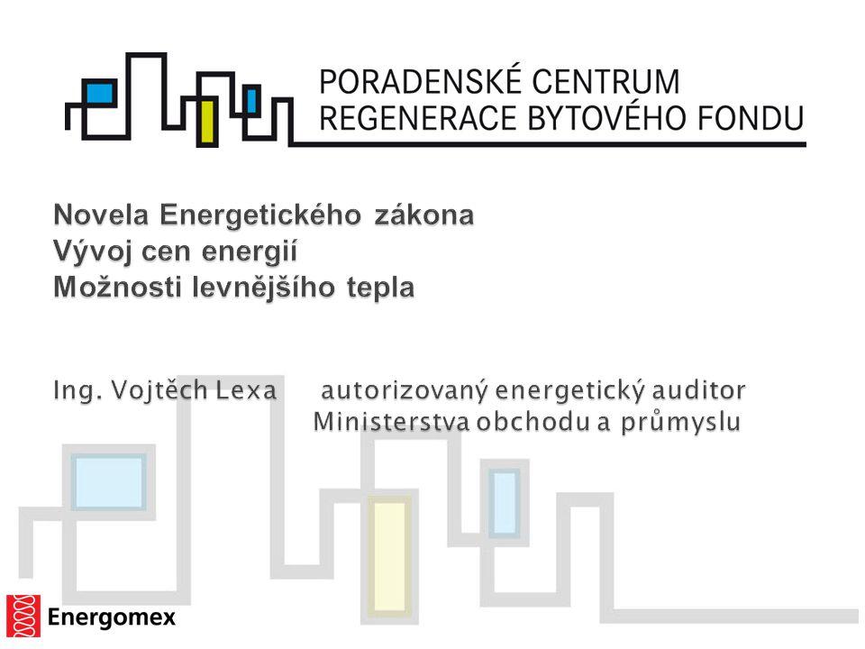 Novela Energetického zákona Vývoj cen energií Možnosti levnějšího tepla Ing.