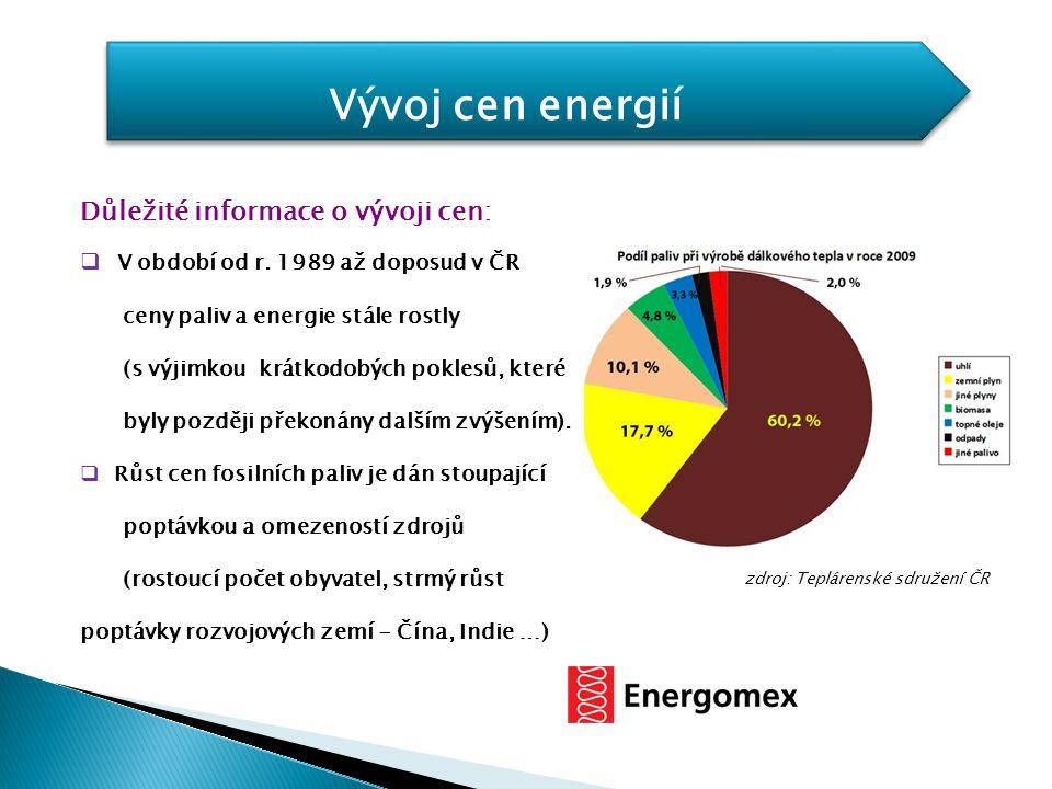 Vývoj cen energií Důležité informace o vývoji cen: