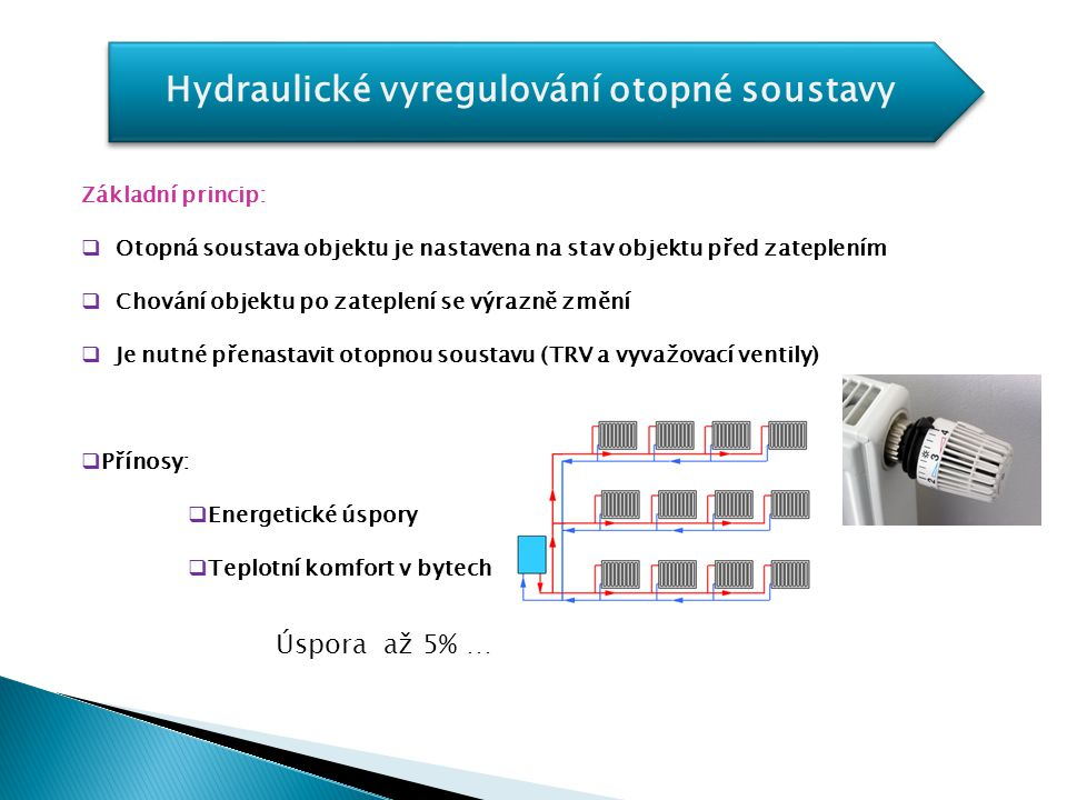 Hydraulické vyregulování otopné soustavy