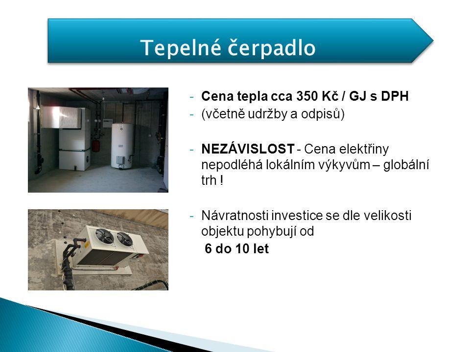 Tepelné čerpadlo Cena tepla cca 350 Kč / GJ s DPH