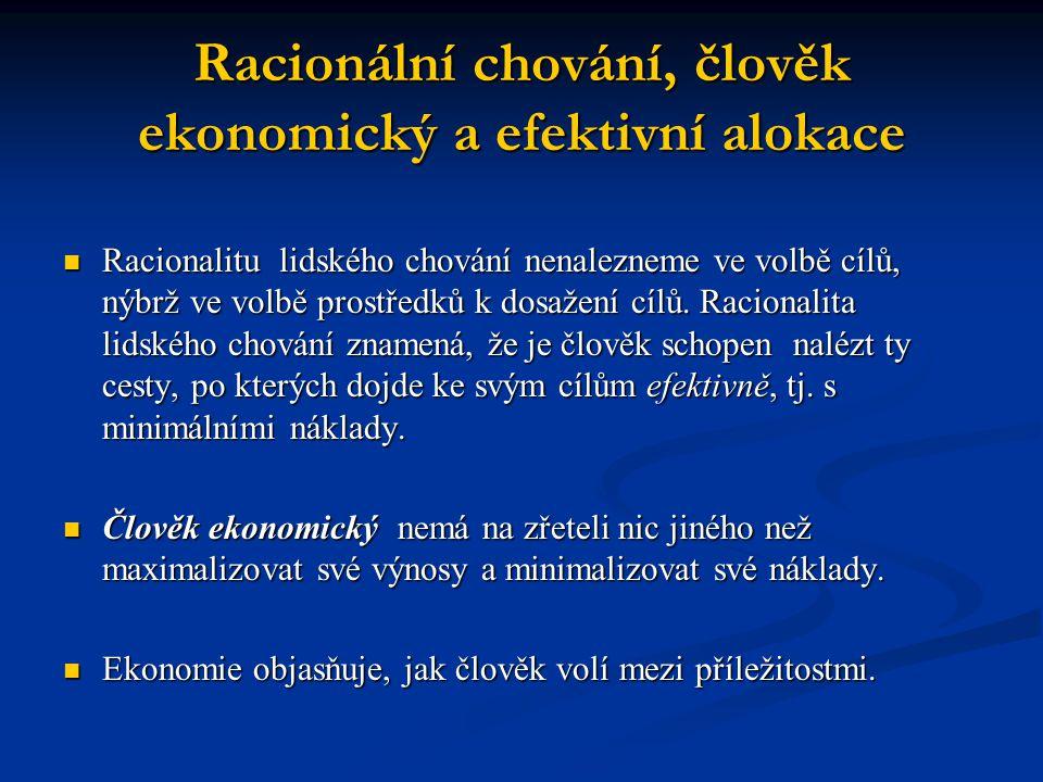 Racionální chování, člověk ekonomický a efektivní alokace
