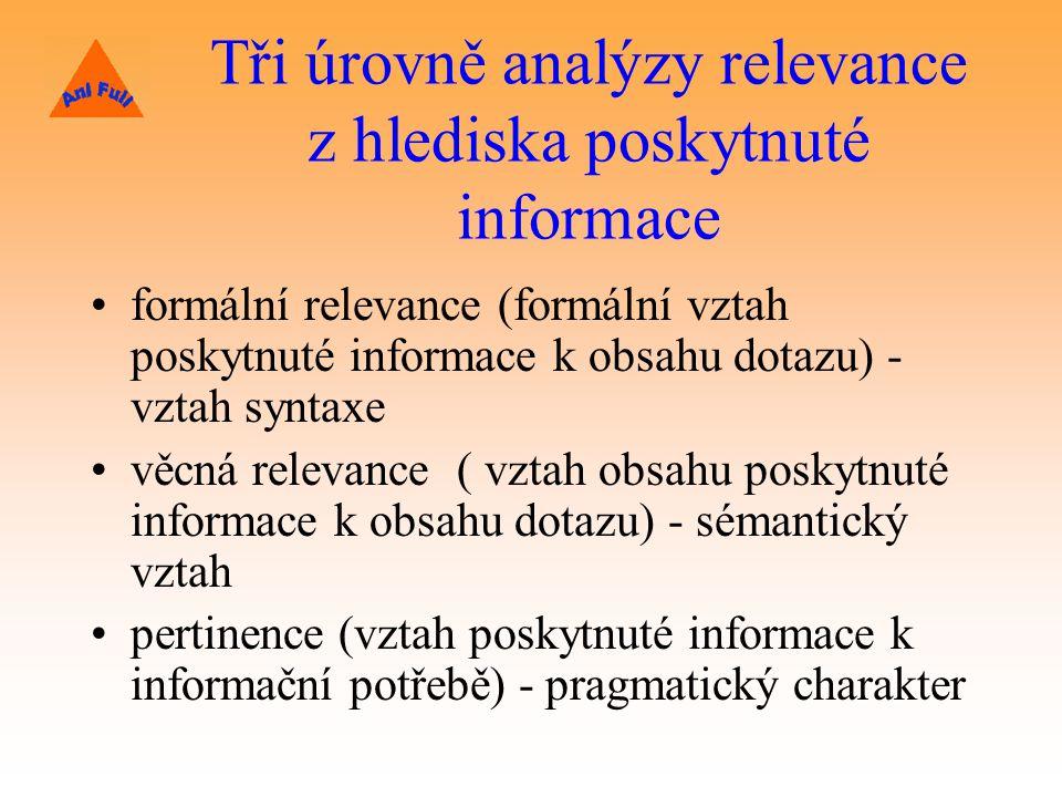 Tři úrovně analýzy relevance z hlediska poskytnuté informace