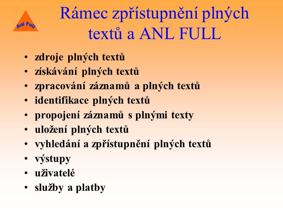 Rámec zpřístupnění plných textů a ANL FULL