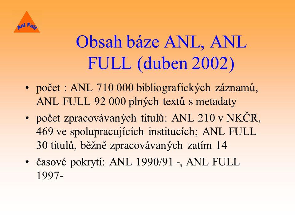 Obsah báze ANL, ANL FULL (duben 2002)