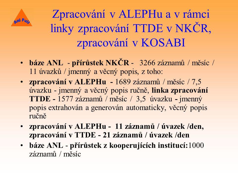 Zpracování v ALEPHu a v rámci linky zpracování TTDE v NKČR, zpracování v KOSABI