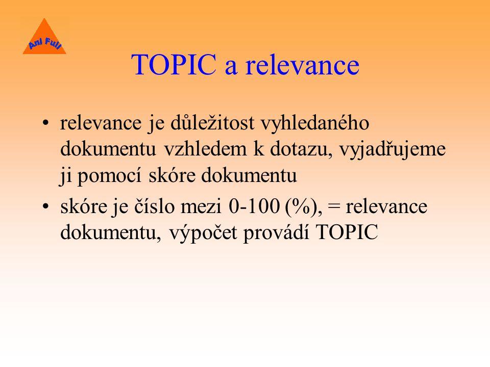 TOPIC a relevance relevance je důležitost vyhledaného dokumentu vzhledem k dotazu, vyjadřujeme ji pomocí skóre dokumentu.