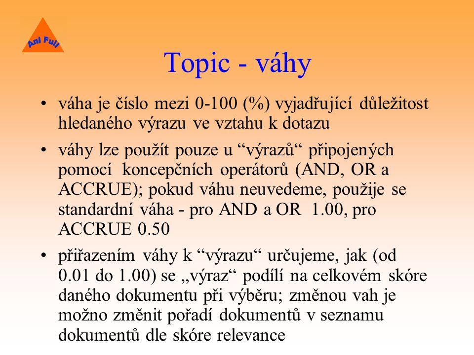 Topic - váhy váha je číslo mezi 0-100 (%) vyjadřující důležitost hledaného výrazu ve vztahu k dotazu.
