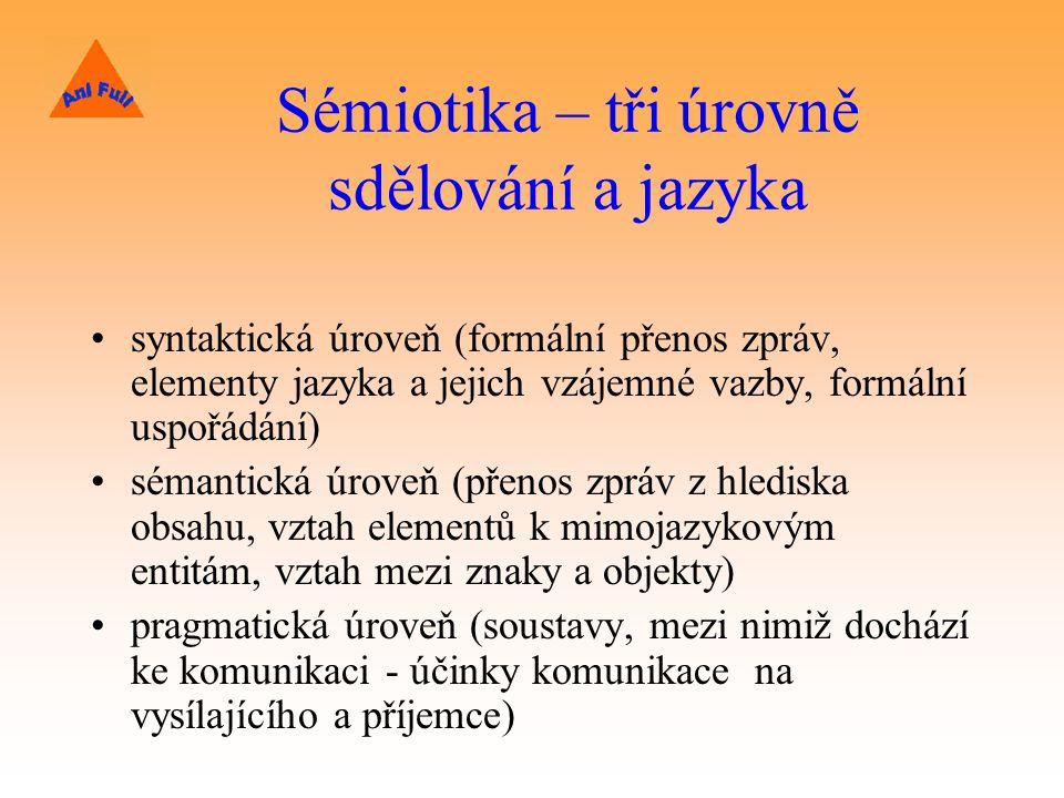 Sémiotika – tři úrovně sdělování a jazyka