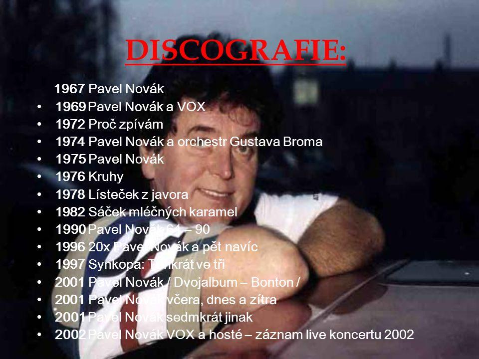 DISCOGRAFIE: 1967 Pavel Novák 1969 Pavel Novák a VOX 1972 Proč zpívám
