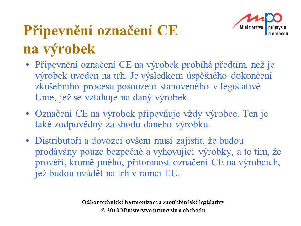 Připevnění označení CE na výrobek