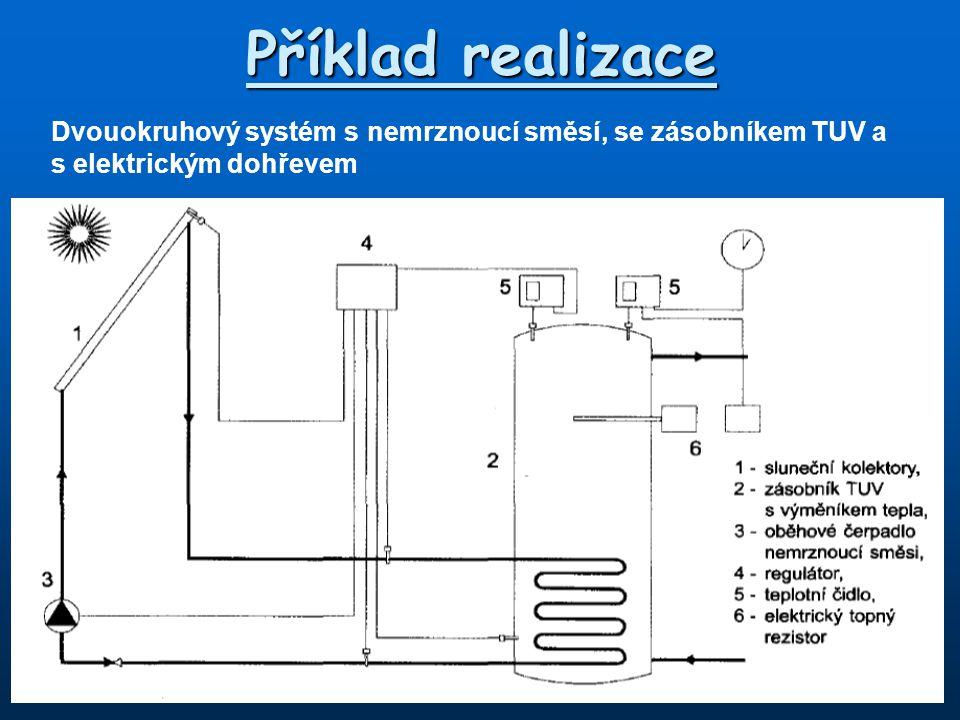 Příklad realizace Dvouokruhový systém s nemrznoucí směsí, se zásobníkem TUV a s elektrickým dohřevem.