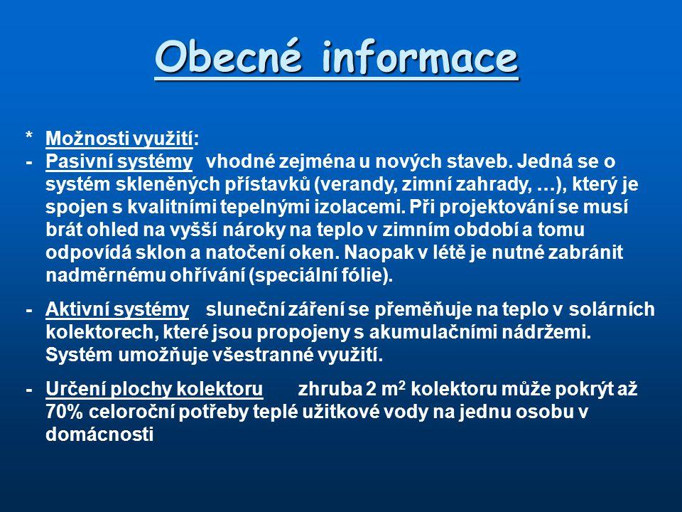 Obecné informace * Možnosti využití: