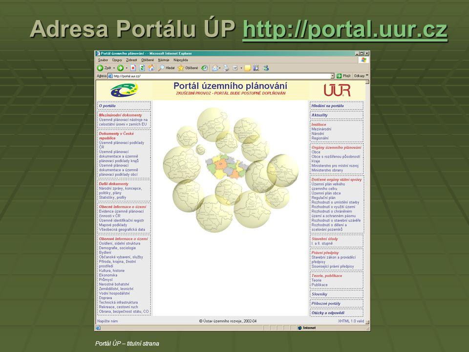 Adresa Portálu ÚP http://portal.uur.cz