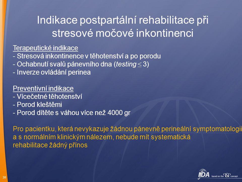 Indikace postpartální rehabilitace při stresové močové inkontinenci