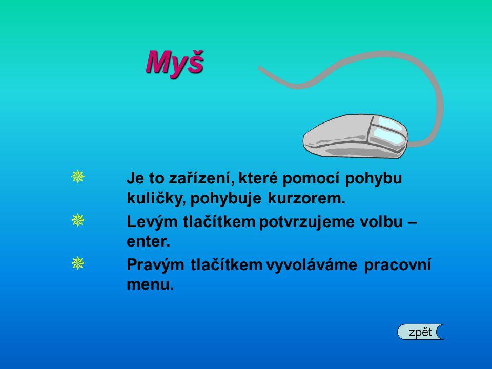Myš Je to zařízení, které pomocí pohybu kuličky, pohybuje kurzorem.