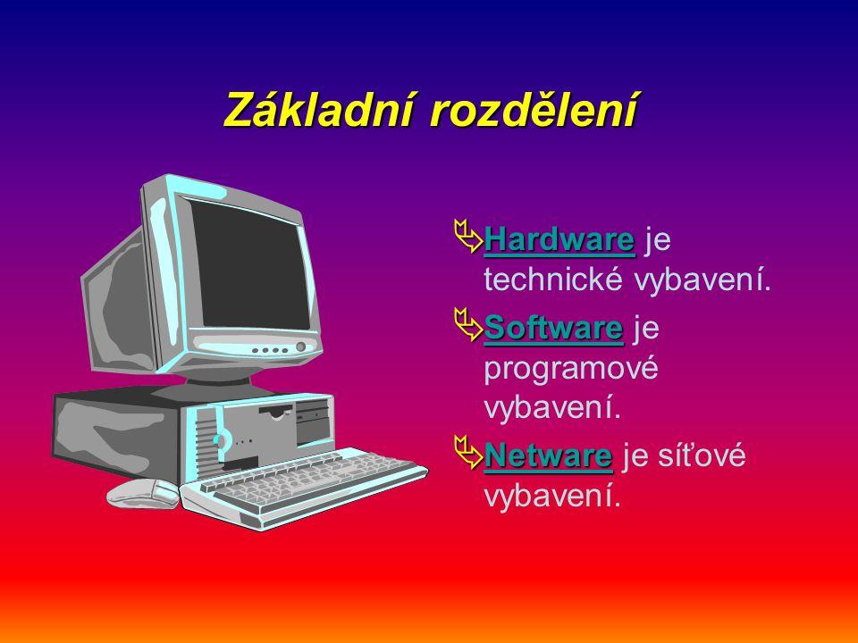 Základní rozdělení Hardware je technické vybavení.