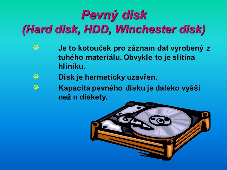Pevný disk (Hard disk, HDD, Winchester disk)