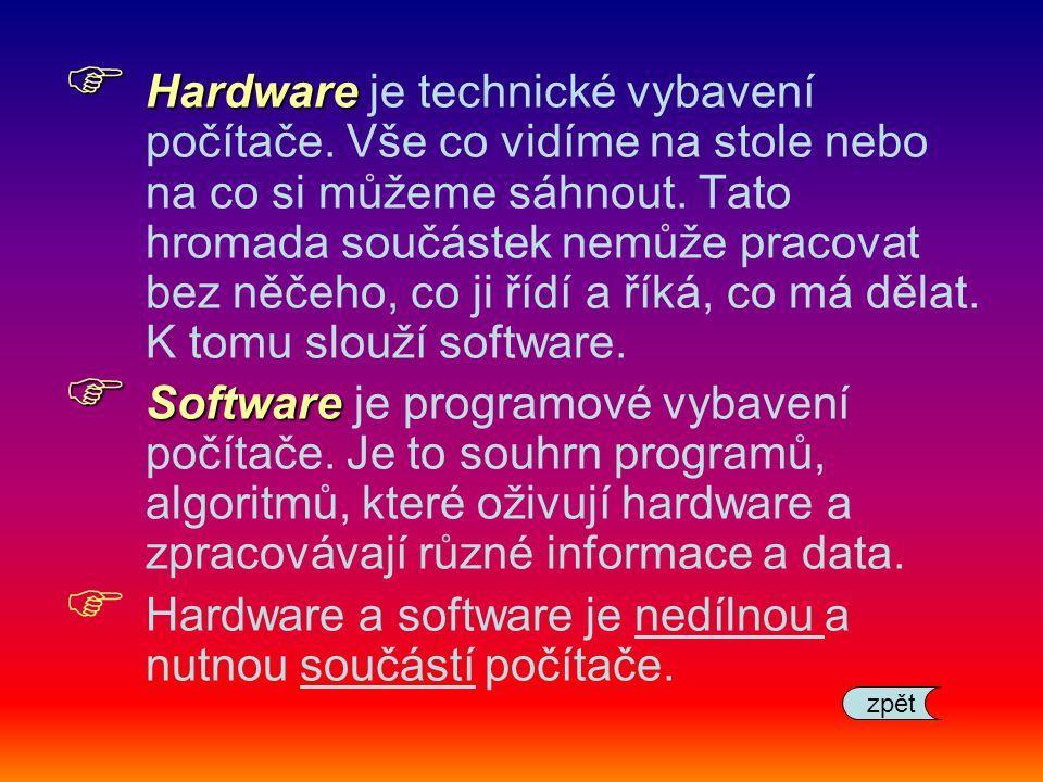 Hardware a software je nedílnou a nutnou součástí počítače.