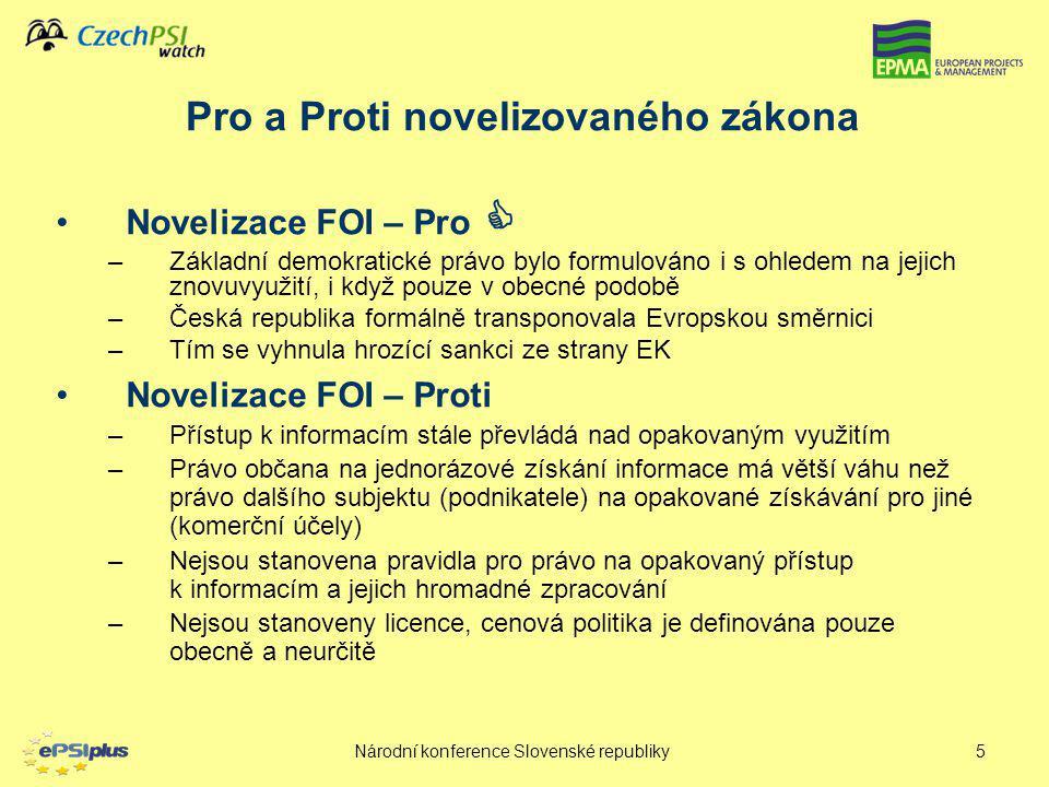 Pro a Proti novelizovaného zákona