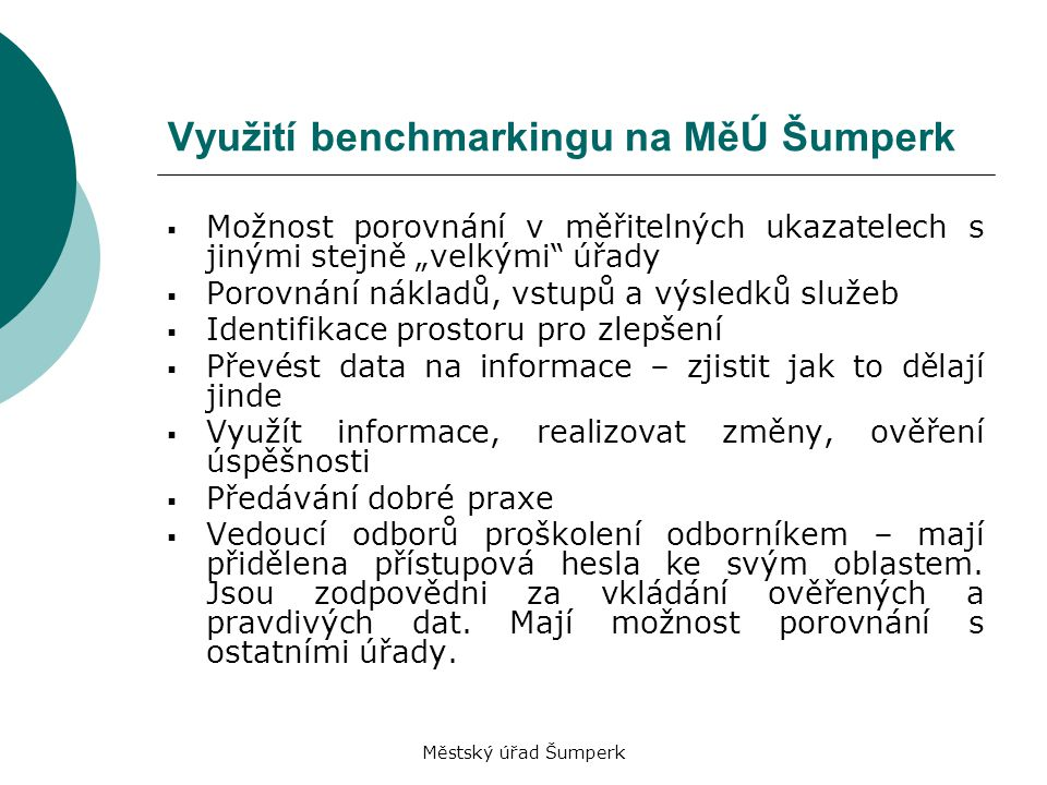 Využití benchmarkingu na MěÚ Šumperk