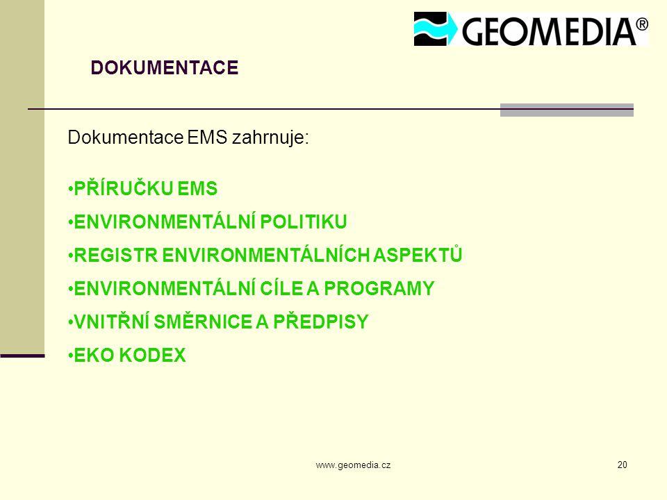 Dokumentace EMS zahrnuje: PŘÍRUČKU EMS ENVIRONMENTÁLNÍ POLITIKU