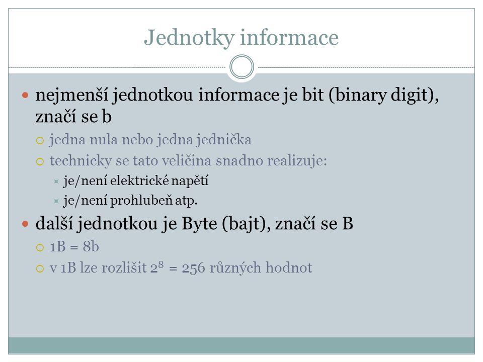 Jednotky informace nejmenší jednotkou informace je bit (binary digit), značí se b. jedna nula nebo jedna jednička.