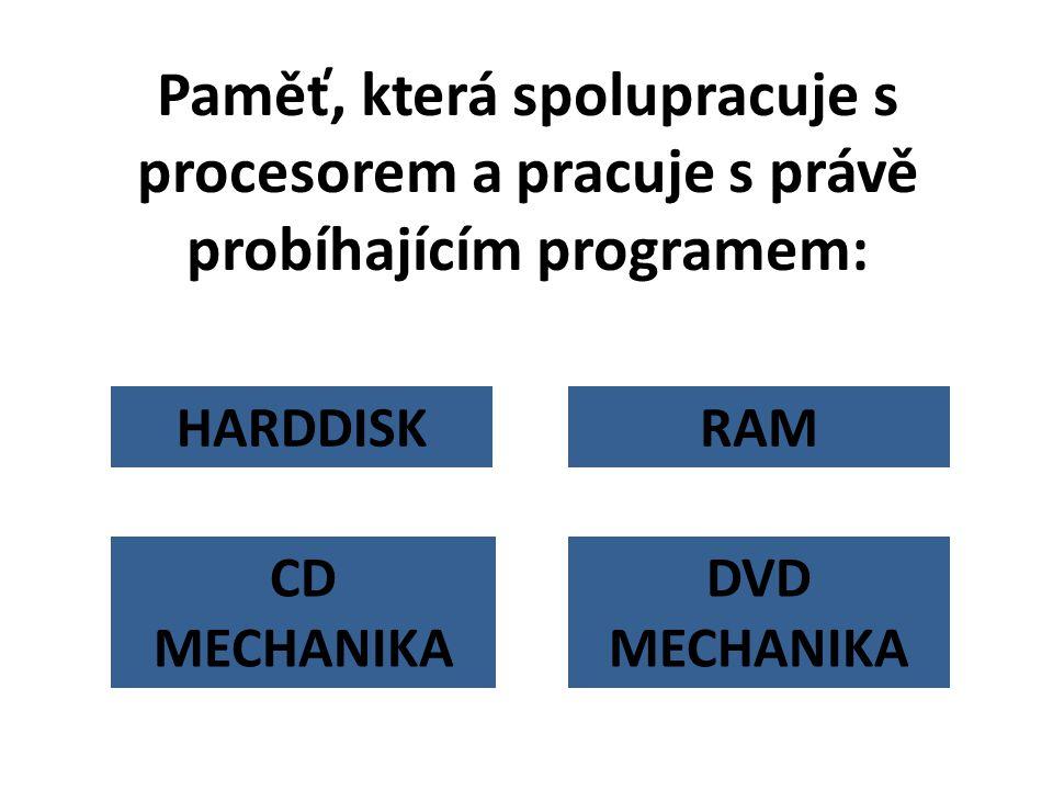 Paměť, která spolupracuje s procesorem a pracuje s právě probíhajícím programem: