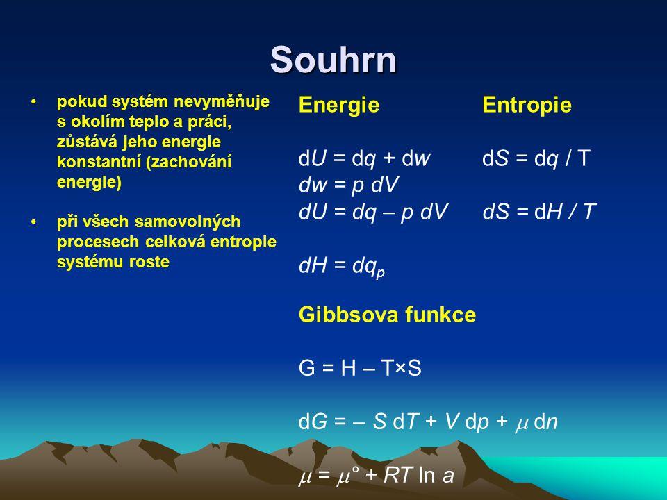 Souhrn Energie dU = dq + dw dw = p dV dU = dq – p dV dH = dqp Entropie