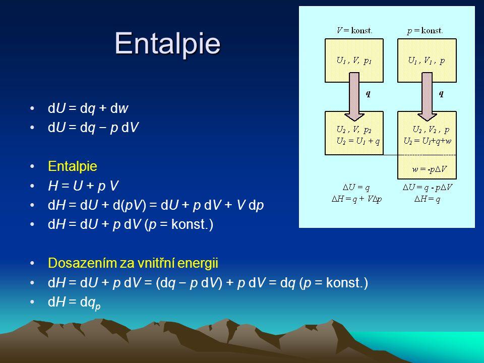 Entalpie dU = dq + dw dU = dq − p dV Entalpie H = U + p V
