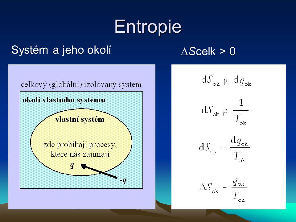 Entropie Systém a jeho okolí ∆Scelk > 0