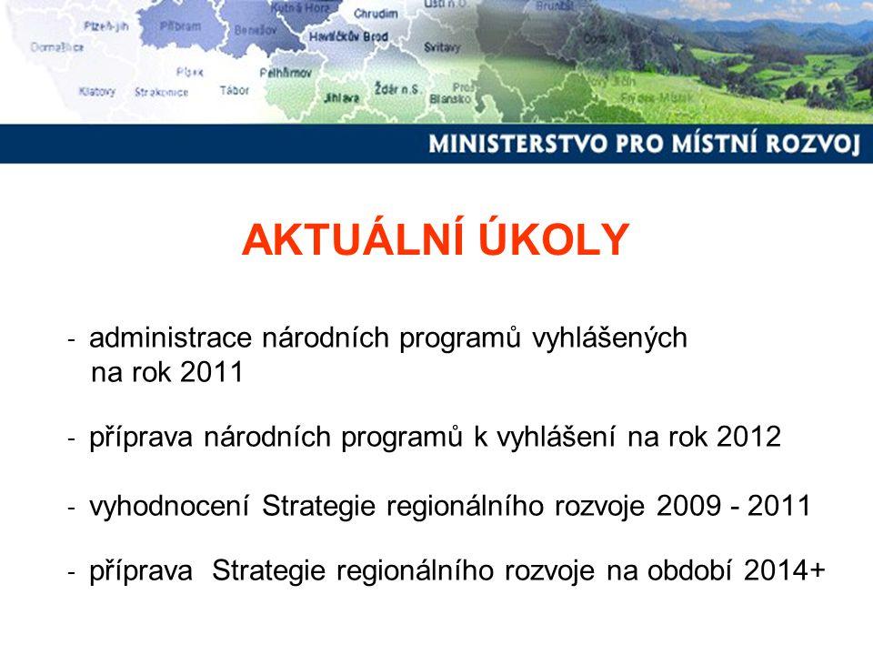 AKTUÁLNÍ ÚKOLY na rok 2011 administrace národních programů vyhlášených