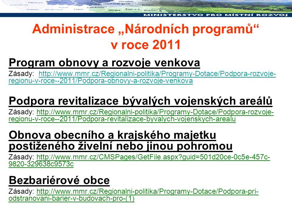 """Administrace """"Národních programů v roce 2011"""