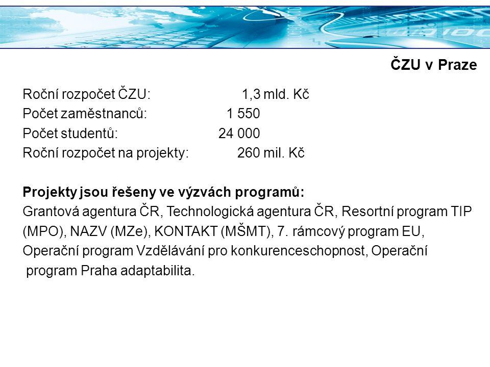 ČZU v Praze Roční rozpočet ČZU: 1,3 mld. Kč Počet zaměstnanců: 1 550