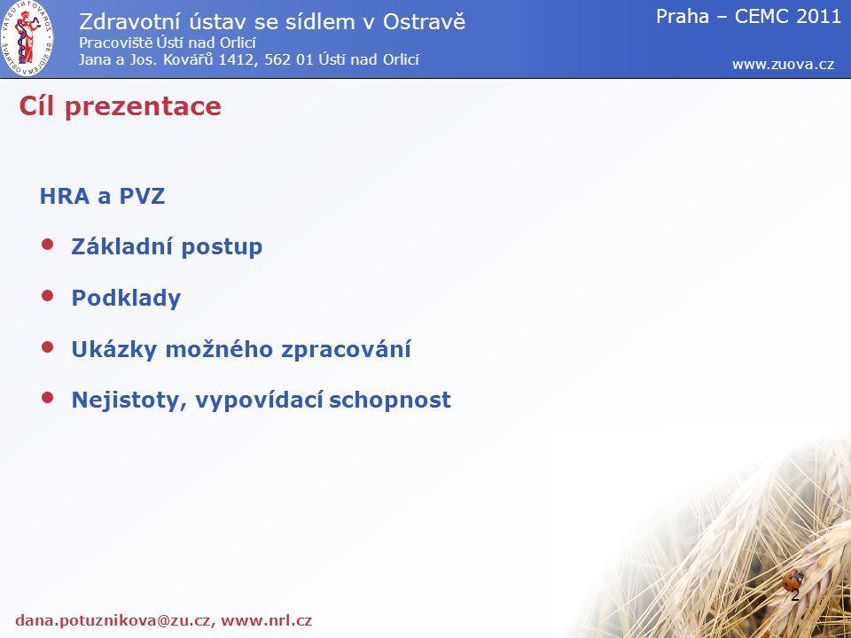 Cíl prezentace Zdravotní ústav se sídlem v Ostravě HRA a PVZ