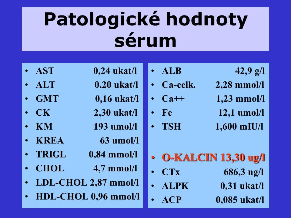 Patologické hodnoty sérum