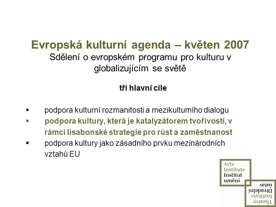 Evropská kulturní agenda – květen 2007 Sdělení o evropském programu pro kulturu v globalizujícím se světě
