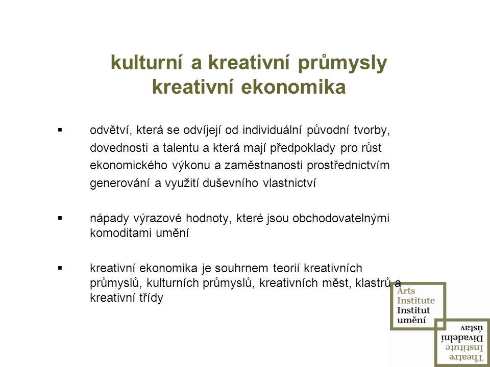 kulturní a kreativní průmysly kreativní ekonomika