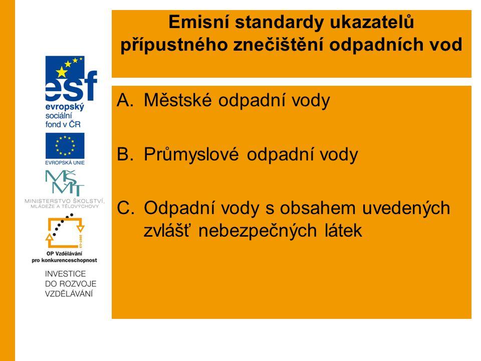 Emisní standardy ukazatelů přípustného znečištění odpadních vod
