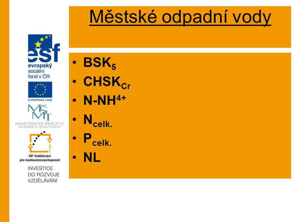 Městské odpadní vody BSK5 CHSKCr N-NH4+ Ncelk. Pcelk. NL