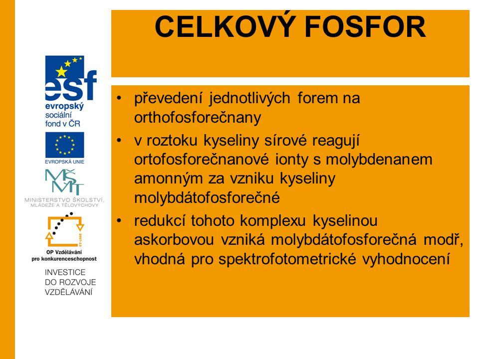 CELKOVÝ FOSFOR převedení jednotlivých forem na orthofosforečnany
