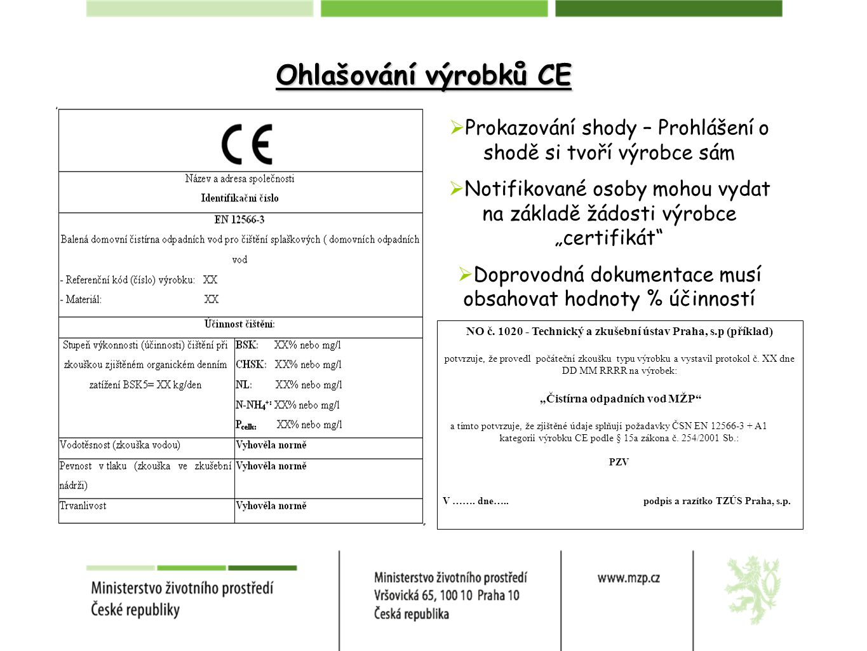 Ohlašování výrobků CE Prokazování shody – Prohlášení o shodě si tvoří výrobce sám.