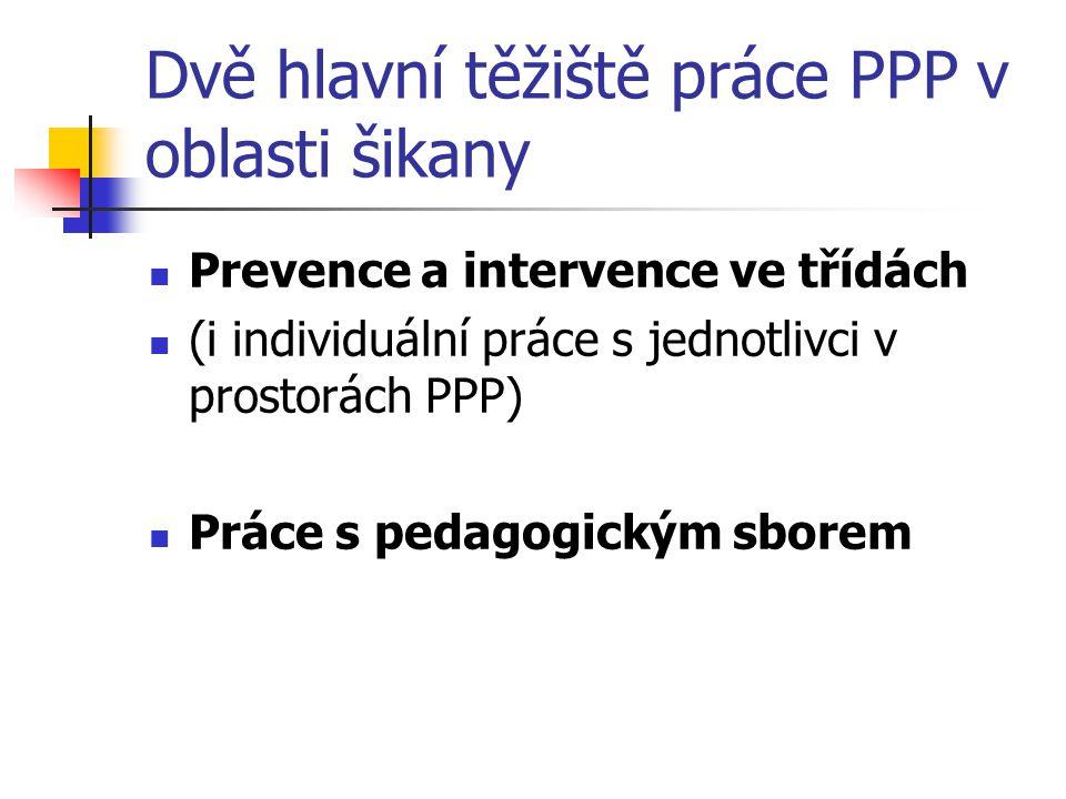 Dvě hlavní těžiště práce PPP v oblasti šikany